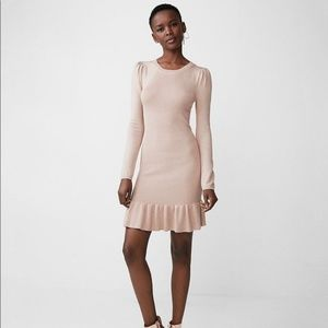 Metallic Ruffle Hem Sweater Dress